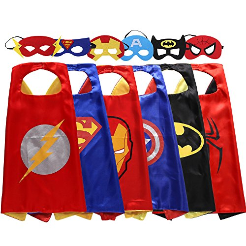 Lazu Superhero Dress Up Costumes 6 Satin Capes with Felt Masks (5)