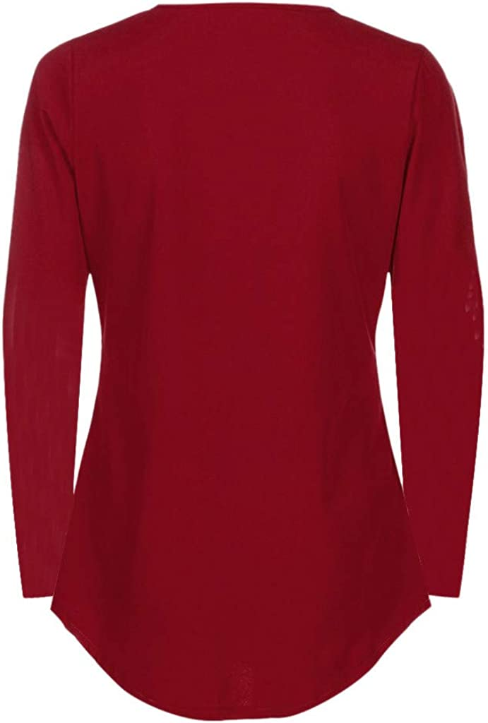 Meikosks Womens V Neck Zipper T Shirt Long Sleeve Tops Plus Size Blouses Solid Color Pullover