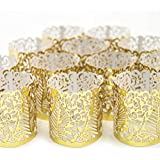 Frux Home and Yard FLAMELESS Tea Light Votive Wraps- 48 Gold Colored Laser Cut Decorative Wraps Flickering LED Battery Tealight Candles (not Included)