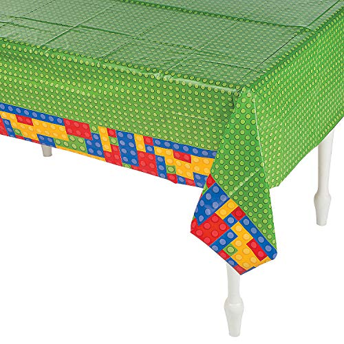 Fun Express Plastic Color Brick Party Tablecloth - 54