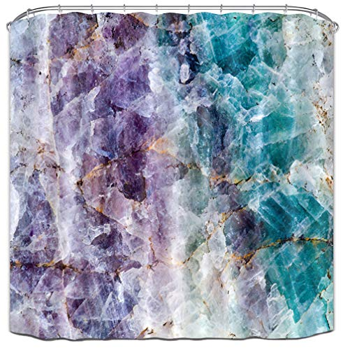 Abstract Marble - LB Colorful Crystal Mineral Pattern Shower Curtain, Mineral Rock Texture Decor for Bathroom, 70 x 70 Shower Curtain Waterproof