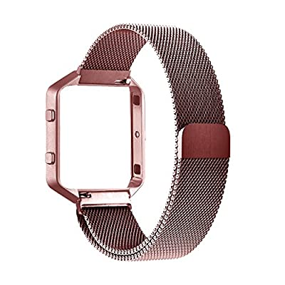 Fitbit Blaze Accessory Band Large (6.3-9.1 in),Oitom Milanese loop stailess steel Bracelet Strap for Fitbit Blaze Smart Fitness Watch, Black, Silver, Large with unique Magnet lock ...