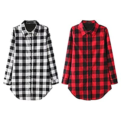 JTENGYAO Women's Wild plaid shirt and long sections
