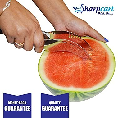 Sharpcart Watermelon Slicer Corer Server Cutter & Knife Stainless Steel LARGE SIZE 9.25 Inches Length - High Quality - Perfect Slices with One Gesture - Satisfaction Guarantee