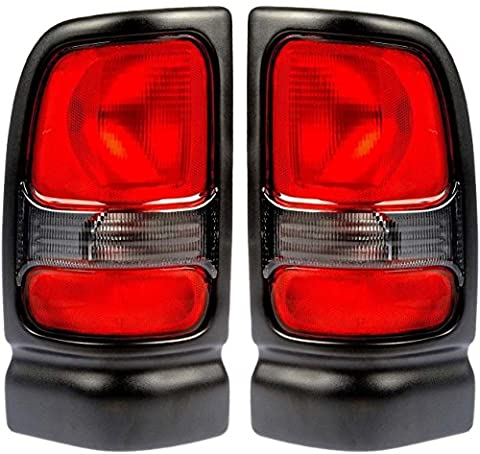 1994-2001 Dodge Ram 1500 (without Sport Package) & 1994-2002 Ram 2500 3500 Pickup Truck Taillight Taillamp Rear Brake Tail Light Lamp Set Pair Left Driver AND Right Passenger Side (1994 94 1995 95 1996 96 1997 97 1998 98 1999 99 2000 00 2001 01 2002 (1998 Dodge Ram Brake Lights)