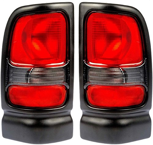 Dodge Ram Tail Lights Lamps (1994-2001 Dodge Ram 1500 (without Sport Package) & 1994-2002 Ram 2500 3500 Pickup Truck Taillight Taillamp Rear Brake Tail Light Lamp Set Pair Left Driver AND Right Passenger Side (1994 94 1995 95 1996 96 1997 97 1998 98 1999 99 2000 00 2001 01 2002 02))