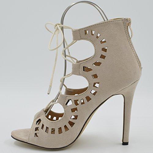 Oasap Damen Fashion Spitz Schnürband Pfennigsabsätzen Schuhe Apricot