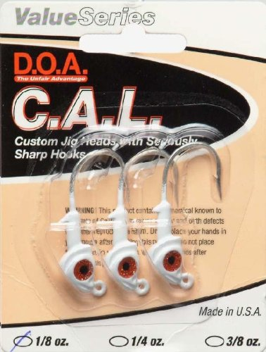 DOA 1/8oz White C.A.L Jig (0.125 Ounce Jig Head)