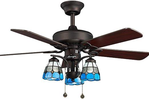 HSF Luz de Ventilador de Techo Azul luz de Ventilador eléctrica Retro salón luz de Ventilador de Restaurante lámpara Manual Ventiladores de Techo con lámpara: Amazon.es: Hogar
