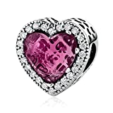 Everbling Radiant Hearts Rose Crystal Clear CZ 925 Sterling Silver Bead Fits Pandora Charm Bracelet