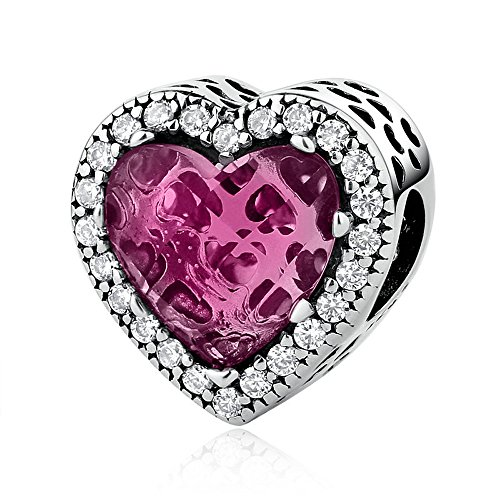 (Everbling Radiant Hearts Rose Crystal Clear CZ 925 Sterling Silver Bead Fits Pandora Charm Bracelet)