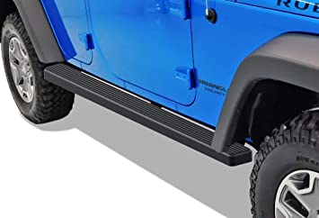 Factory Sidesteps or Rock Rails Have to Be Removed Nerf Bars Side Steps Side Bars APS iBoard Running Boards 4 inches Custom Fit 2007-2018 Jeep Wrangler JK Sport Utility 2-Door