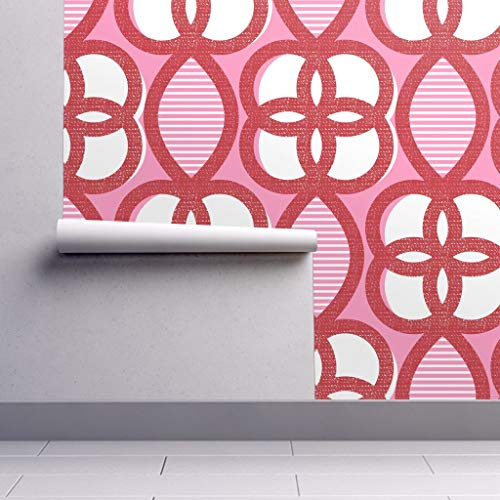 Peel-and-Stick Removable Wallpaper - Lattice Abstract Retro Mod Chinoiserie Circles Red and Pink Stripes by Ottomanbrim - 24in x 60in Woven Textured Peel-and-Stick Removable Wallpaper Roll (Lattice Stripe Wallpaper)