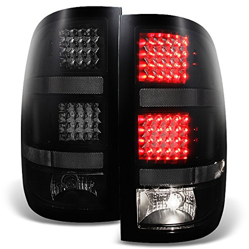 2007 2008 2009 2010 2011 2012 2013 GMC Sierra Fleetside Black Smoked LED Tail Lights Replacement (Gmc Sierra Fleetside Led Tail)