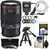 Canon EF 100mm f/2.8 L is Macro USM Lens with Ring Light + Tripod + 3 Filters Kit for EOS 80D, 6D, 7D, 5DS, 5D II III IV, Rebel T6, T6i, T6s, T7, T7i