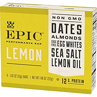 EPIC Performance Lemon Protein Bar, Paleo Compliant (8 Pack - 4 Bars Each)