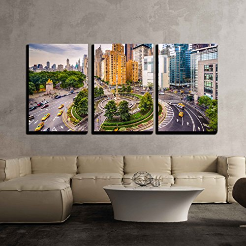 wall26 - 3 Piece Canvas Wall Art - New York City, Usa Cityscape at Columbus Circle. - Modern Home Decor Stretched and Framed Ready to Hang - 24