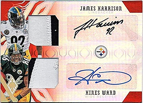2018 Panini Phoenix Dual Patch Autograph Hines Ward/James Harrison Game Used AUTO Jersey 13/15 Football Card Steelers