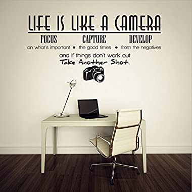 Life Is Like a Camera Focus Capture Develop and Take Another Shot Quotes and Sayings Wall Decal Removable Lettering Vinyl Wall Art Stickers for Home Decor LUCKKYY