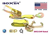 (4) Boxer DOT 2'' x10' RTJ Cluster Hooks Ratchet Strap Tie Down Towing US Made