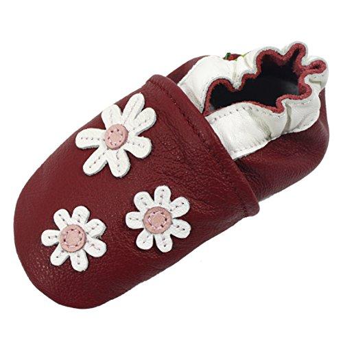 Carozoo 3 Flower Dark Red Baby Boy Soft Sole Leather Shoes Dark Red