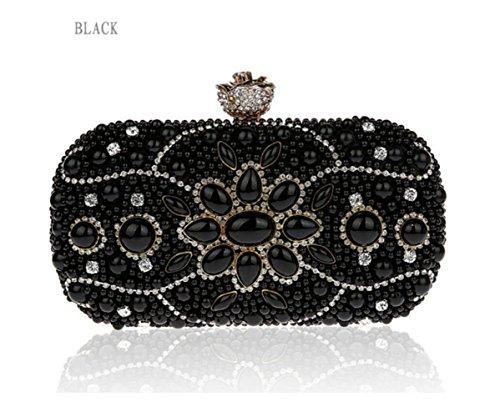 WenL Bolsos De Embrague para Mujer Bolso De Mensajero De Hombro Bolso De Noche De Moda Bolso Mini Bolso Diamantes De Perlas,Black Black