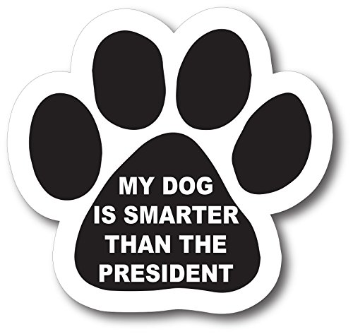 Magnet Vinyl Applied (Magnet Me Up My Dog is Smarter Than The President Pawprint Car Magnet Paw Print Auto Truck Decal Magnet)
