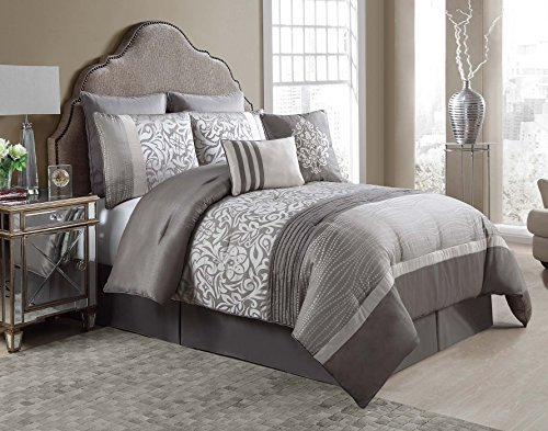 VCNY Home King Size Complete BED-IN-A-BAG in Taupe Luxurious Textured Paisley 8 Pc Set w/Decorative Pillows