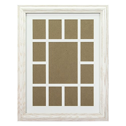 (Craig Frames 440WW 12 by 16-Inch Whitewash Picture Frame, Single White Collage Mat with 13 Openings)