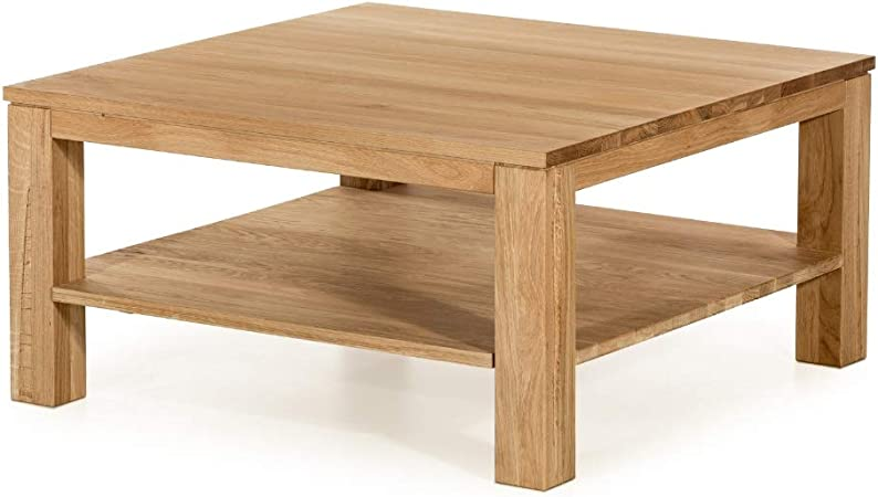 marque amazon alkove hayes table basse en bois massif avec etagere carree chene sauvage