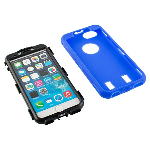 New Apple iphone 6 Case cover Durable Shockproof Armor Case 3in1 Combo Rigid PC + Soft Silicone Protective Case (Blue)
