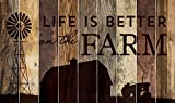 Life is Better on the Farm Silhouette Design 28 x 47 Wood Large Barn Board Wall Art Sign Plaque
