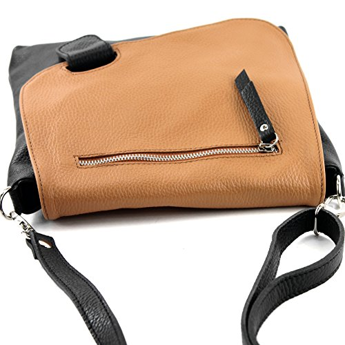 Black De Bag Messengerasche Leather Shoulder Camel Nappa 2in1 Modamoda Ital Nt07 Damentasche 1axnqnvF