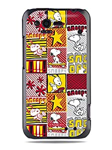 GRÜV Premium Case - 'Peanuts Snoopy Skateboard Sport Pop Art' Design - Best Quality Designer Print on Black Hard Cover - for HTC G20 Rhyme Bliss 6330