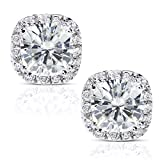 Cushion-cut Moissanite and Diamond Stud Earrings 3 Carat (ctw) in 14k White Gold