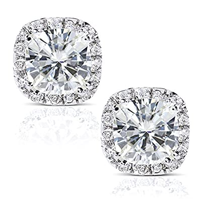 6c8ae8564 Image Unavailable. Image not available for. Color: Cushion-cut Moissanite  and Diamond Stud Earrings 3 CTW 14k White Gold
