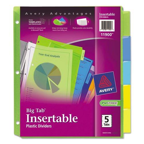 Avery 5-Tab Plastic Binder Dividers, Insertable Multicolor Big Tabs, 1 Set (11900)