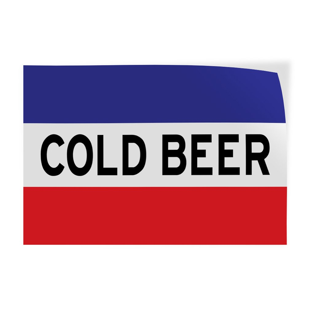 Decal Sticker Multiple Sizes Cold Beer #1 Style F Food & Beverage Beer Outdoor Store Sign White/Red - 66inx44in, Set of 10