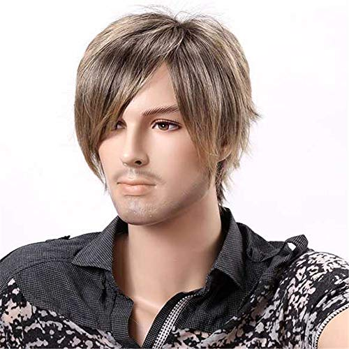 Topwigy Men Wigs Short Straight Wig 10 Inches Synthetic Cosplay Wig Emo Wig Ombre Blonde
