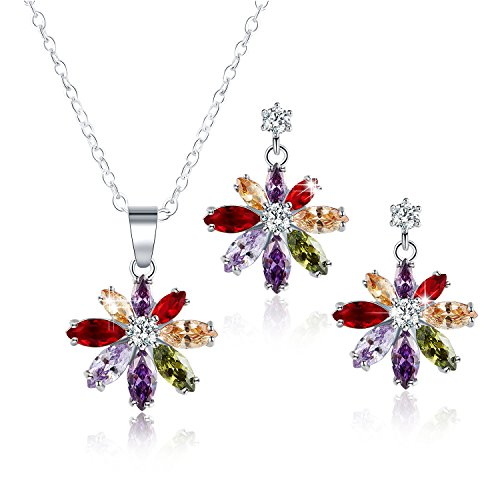 White Gold Snowflake - White Gold Cubic Zirconia Snowflake Piercing Earrings Necklace Set for Women Girls CZ Jewelry Set