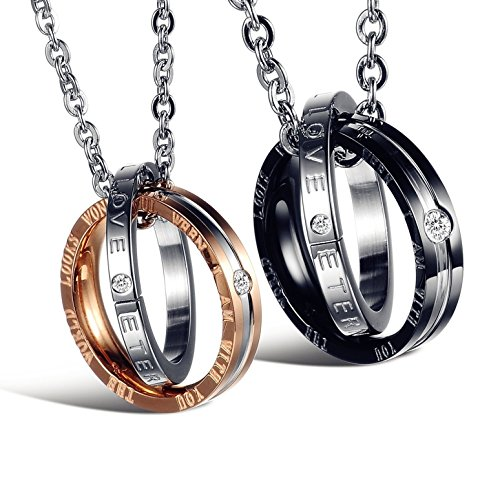 (His & Hers Matching Set Titanium Stainless Steel Couple Pendant Necklace Korean Love Style with a Lucky Bean)