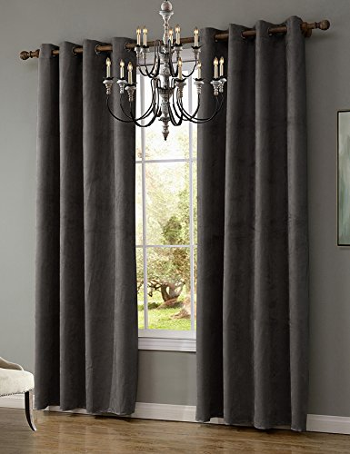 LOHASCASA Suede Noise Cancelling Curtains Wide Short Small Window Curtains Panels and Drapes Bedroom for Men 1 Panel (52 By 63 Inch Charcoal Gray)