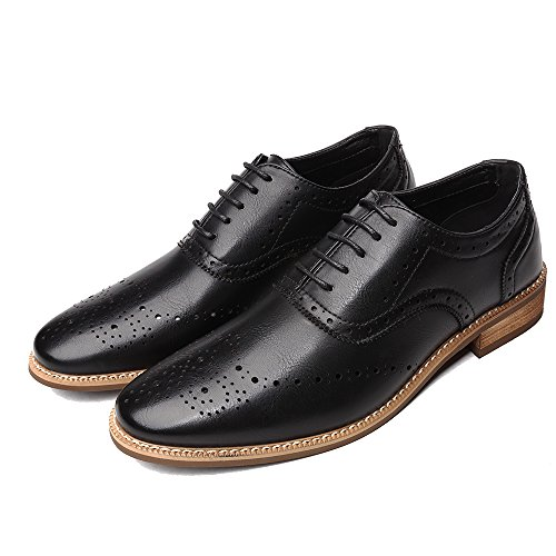 OUOUVALLEY Men's Oxford Modern Classic Brogue Wing-Tip Lace up Leather Lined Perforated Dress Oxfords Shoes (9 D(M) US=EU 42, Black)