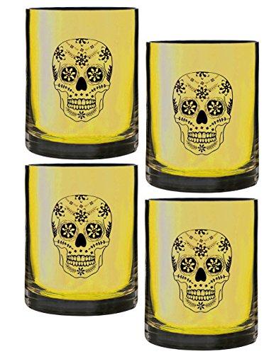 TABLE ART Halloween Skull Laser Etched DOF Glass, Set of 4, (Dof Set)