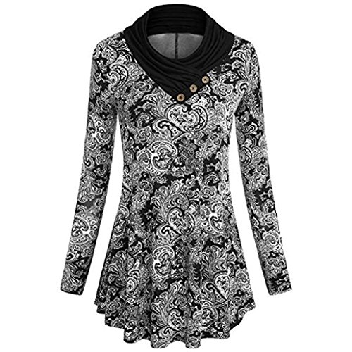 Teresamoon Women's Roll-up Sleeve Button Floral Tunic Tops Loose Henley Shirts -