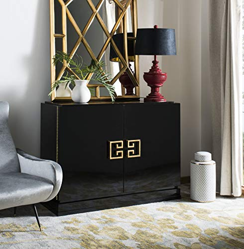Safavieh SFV3505A Couture Collection Winslow 2 Drawer and Gold Metal Cabinet, Medium, Black