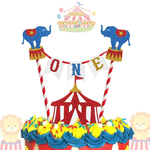 Carnival Theme Cake (Circus Carnival Theme Cake Topper 1st Birthday Circus Theme Photo Booth Props Cake Smash Party Cake Decorations Supplies,)