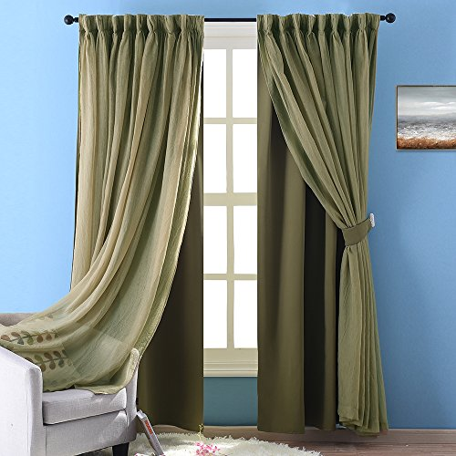 Nicetown Sage Crinkled Voile & Solid Blackout Assembled Mix & Match Curtain With Versatile Styling Option for Bedroom /Living Room (1 Set, 84 Inch Panel, Olive Green)