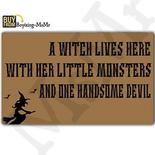 MsMr Funny Doormat Entrance Floor Mat A Witch Lives Here Monster and Devil Door Mat Welcome Mat Home Doormat Indoor Outdoor Decor Doormat Non-Slip Rubber Backing Mat 23.6x15.7 Inch