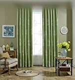 WPKIRA Window Treatments Grommet Top Novel Birds and Birdcage Embroidered Room Darkening Thermal Insulated Faux Linen Semi-Blackout Curtains Panels For Living Room , 1 Panel , Green For Sale